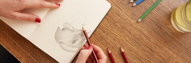 Woman sketching a flower in sketchbook