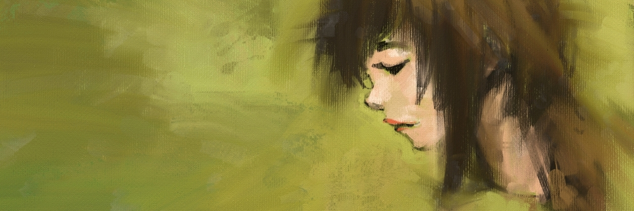 Acrylic painting of woman against a green background