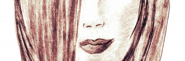 Beautiful young woman, charcoal drawing.