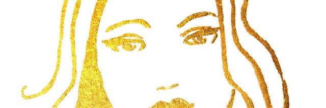 Illustration of woman using gold paints on white background