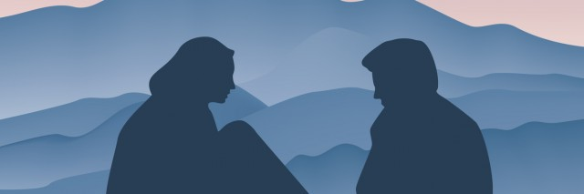Couple face to face, side view, silhouette