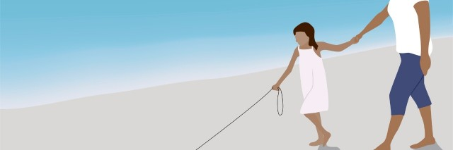 Illustration of mother and her daughter walking their dog on the beach