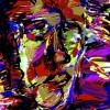 a colorful abstract painting of a woman's face