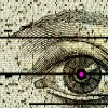Drawing of eye with code composite over it