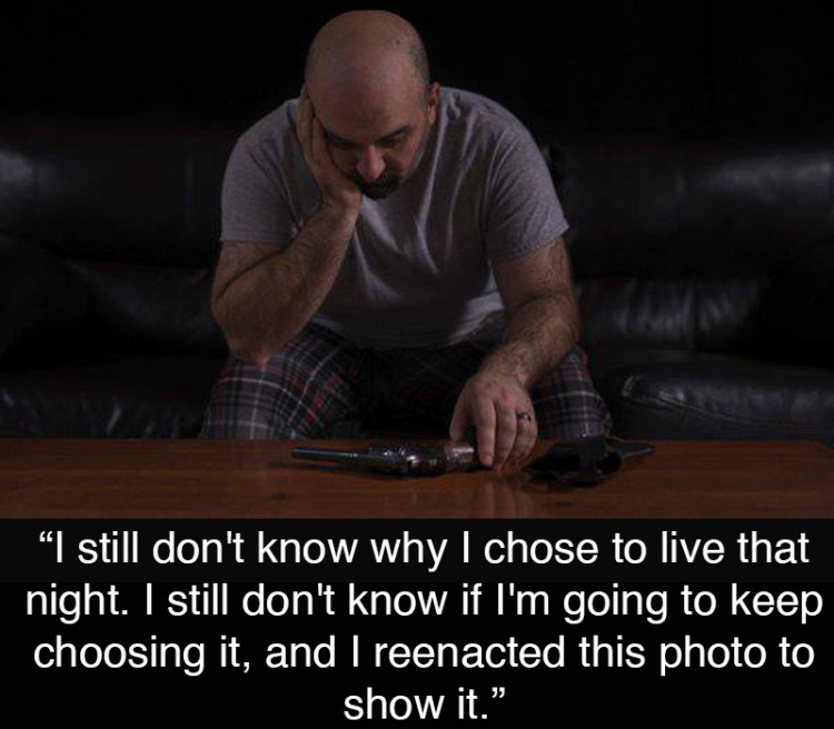 "A man looking down at a gun in the dark. Text reads: ""I still don't know why I chose to live that night. I still don't know if I'm going to keep choosing it, and I reenacted this photo to show it."""