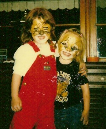 Brittany as a child, in Halloween makeup.