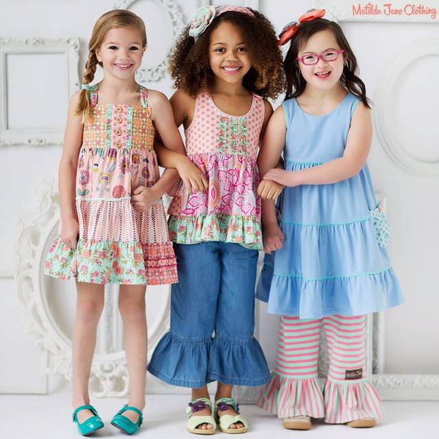 Matilda Jane models, group of three girls, one is differently abled