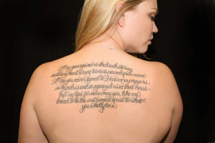 tattoo of a passage from Jane Eyre