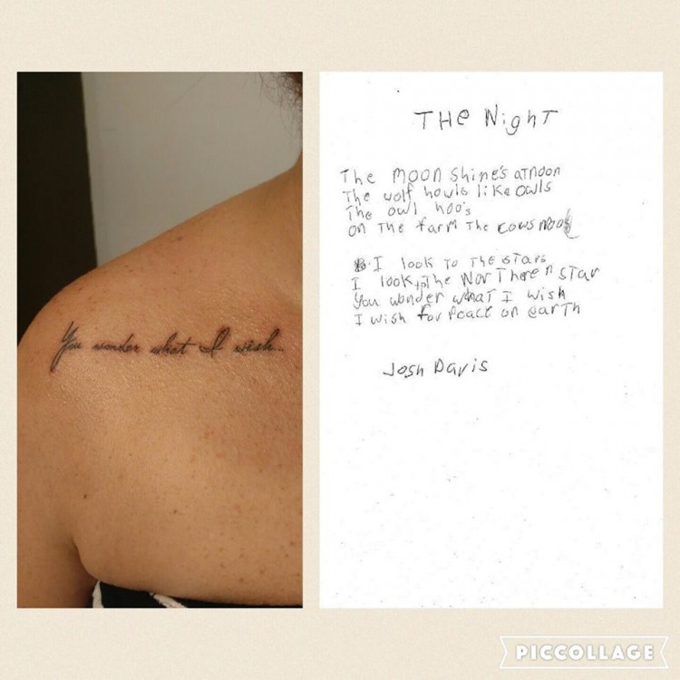 right side: tattoo that reads -- I wonder what it missed. The right is a handwritten poem.