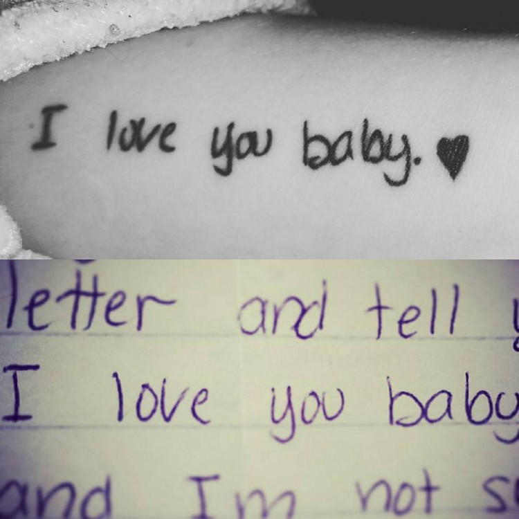 tattoo reads: I love you baby