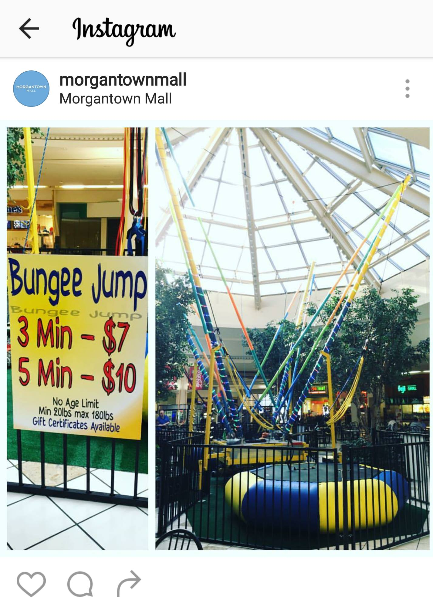 bunjee jump sign in mall
