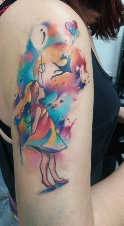 tattoo of a girl holding a balloon