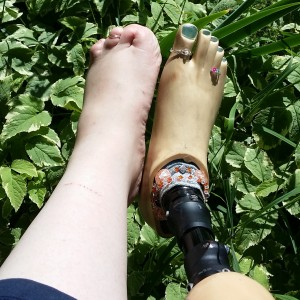 Brittany Moore enjoying the grass barefoot.