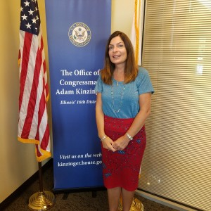 Sharon in front of her congressman's office