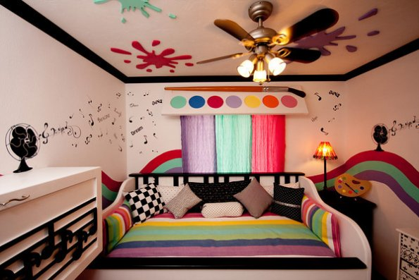 An art and music-themed room completed by Room For Joy for Luz, age 10.