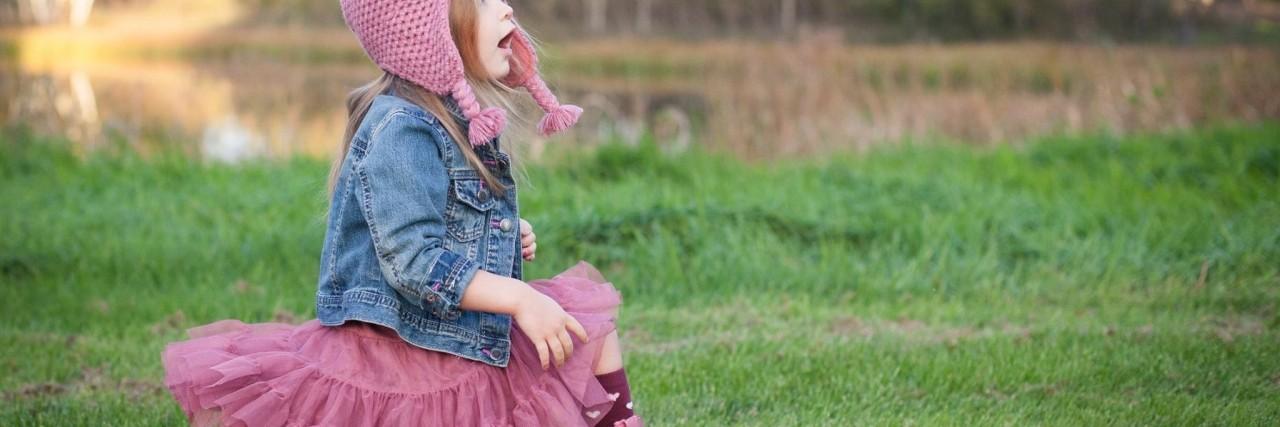 Anneliese in a field