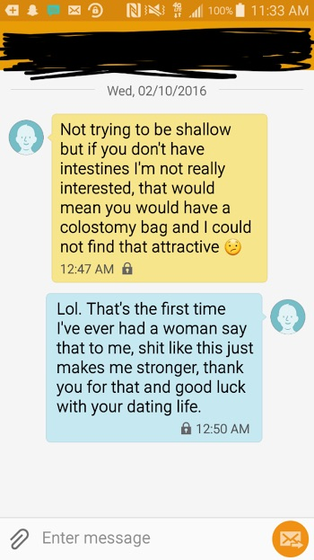 screenshot of online conversation about ostomy
