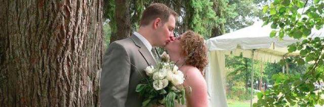 Emily and Scott Filmore on their wedding day