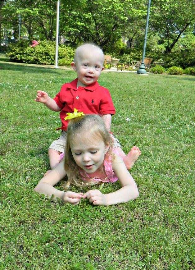 The author's son and daughter at the park