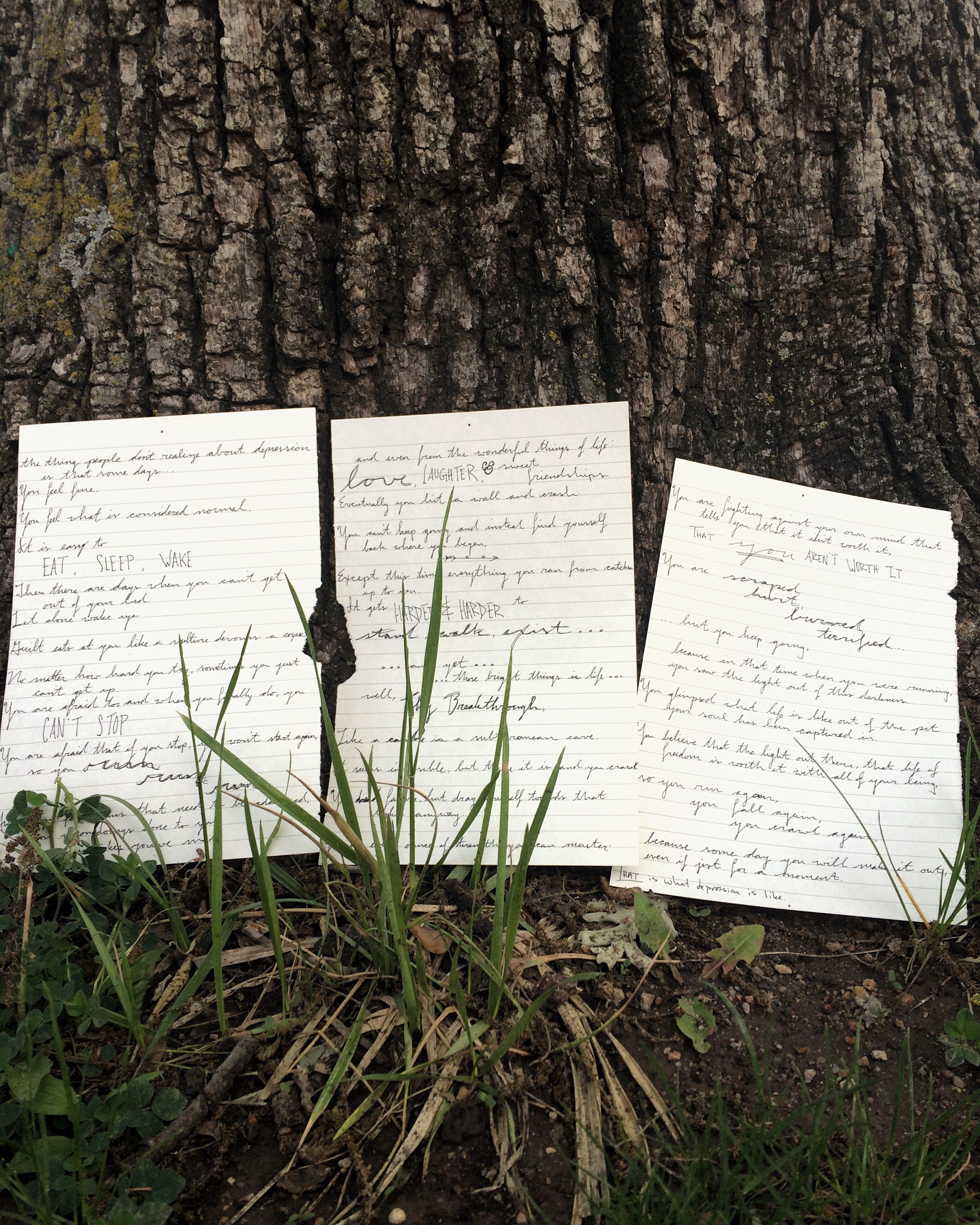 handwritten depression poem