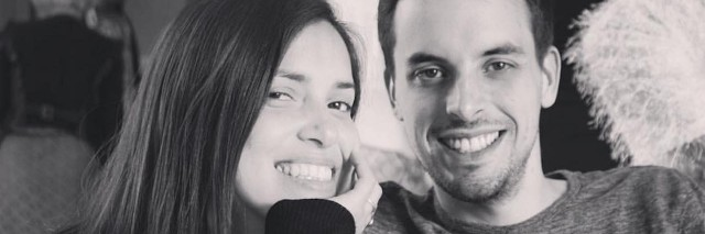 black and white photo of married couple smiling