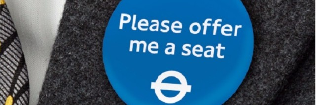 "TfL Badge saying ""Please offer me a seat"""