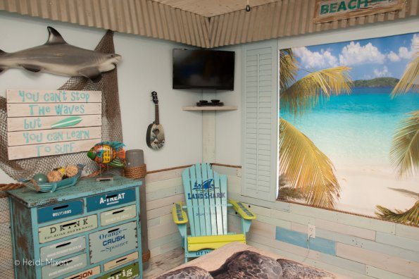 A beach-themed room completed by Room For Joy for Dylan, age 14.