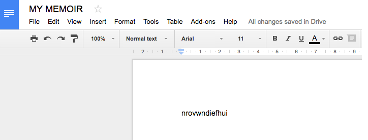 "Google doc called ""my memoir"" -- my content is gibberish"