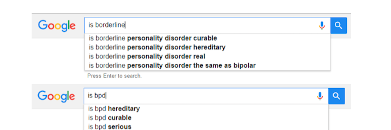 Google results for borderline personality disorder