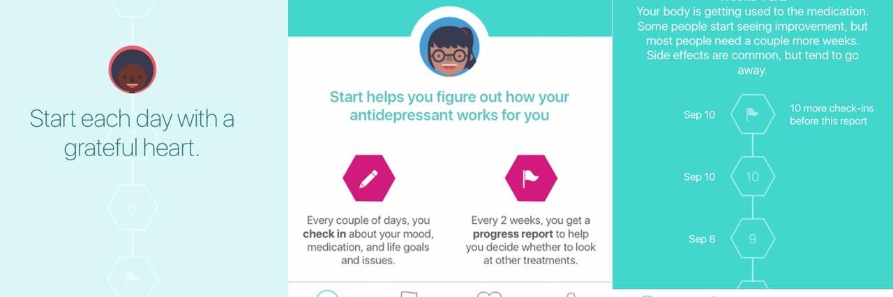 Screenshots of the Start App