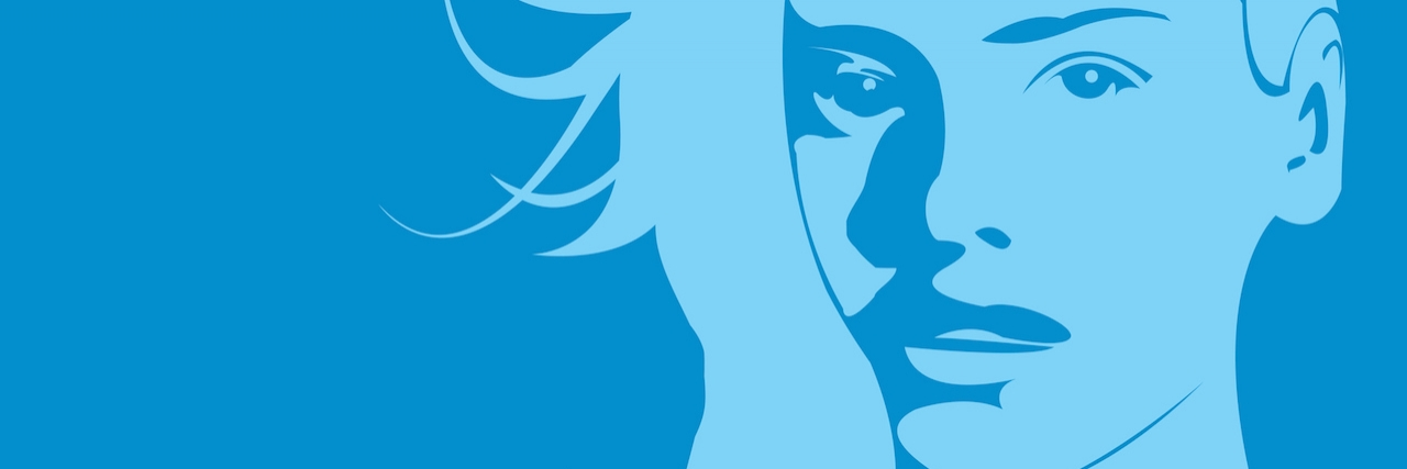 portrait of a woman in shades of blue