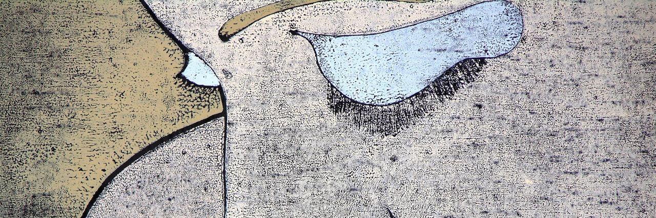 drawing of sad woman looking down