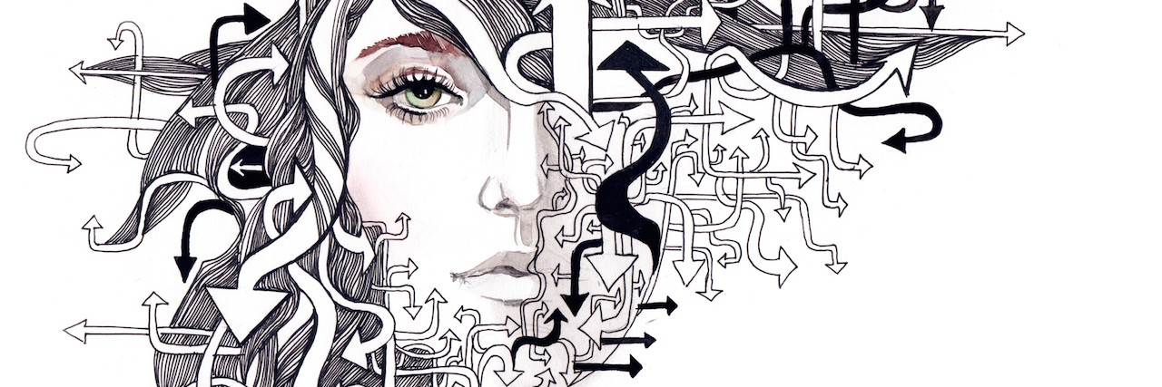 abstract face with arrows