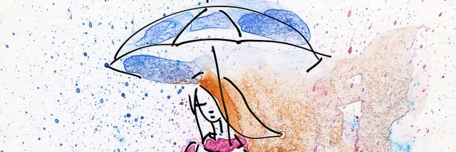 Hand Painted Illustration of a Young Fashion Girl in the Rain