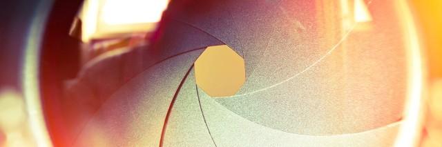 The diaphragm of a camera lens.