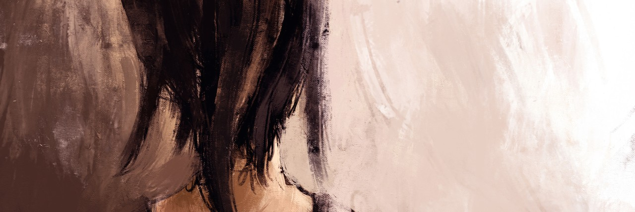 painting of a woman from behind