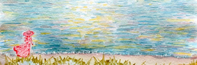 Seascape, a woman on the beach, watercolor illustration and paper texture
