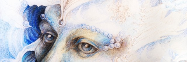 A fantasy detailed drawing of elven man creature, blue fairy man face portrait with gentle abstract structures of pearls and feathers, monochromatic