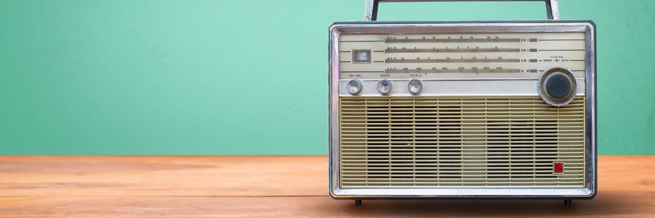 radio on a table