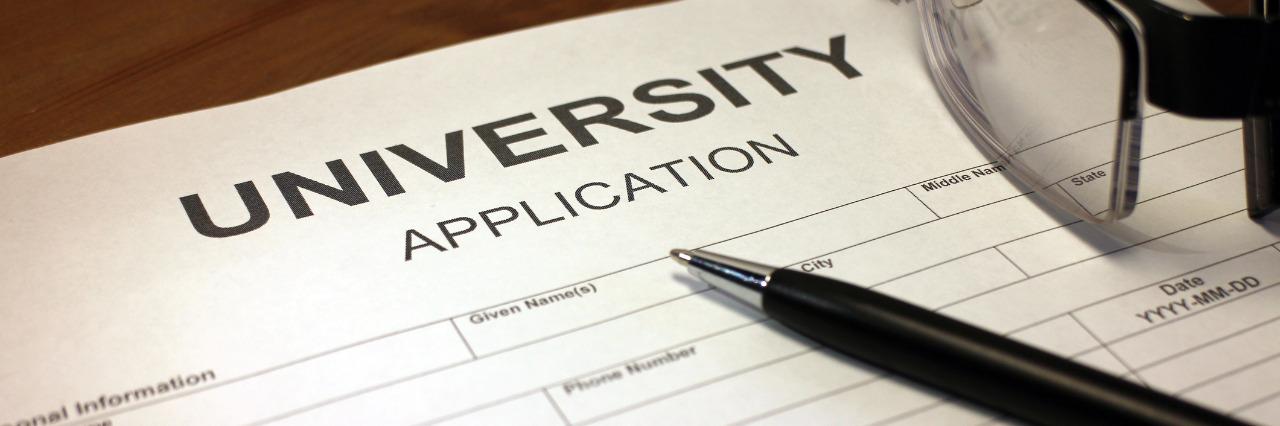 University application form.