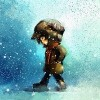 digital painting of little girl walking in winter outdoor, oil on canvas texture