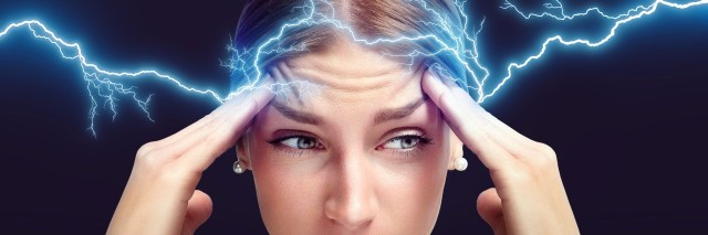 concept of a head pain with lightnings