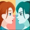 double personality mirror girl illustration