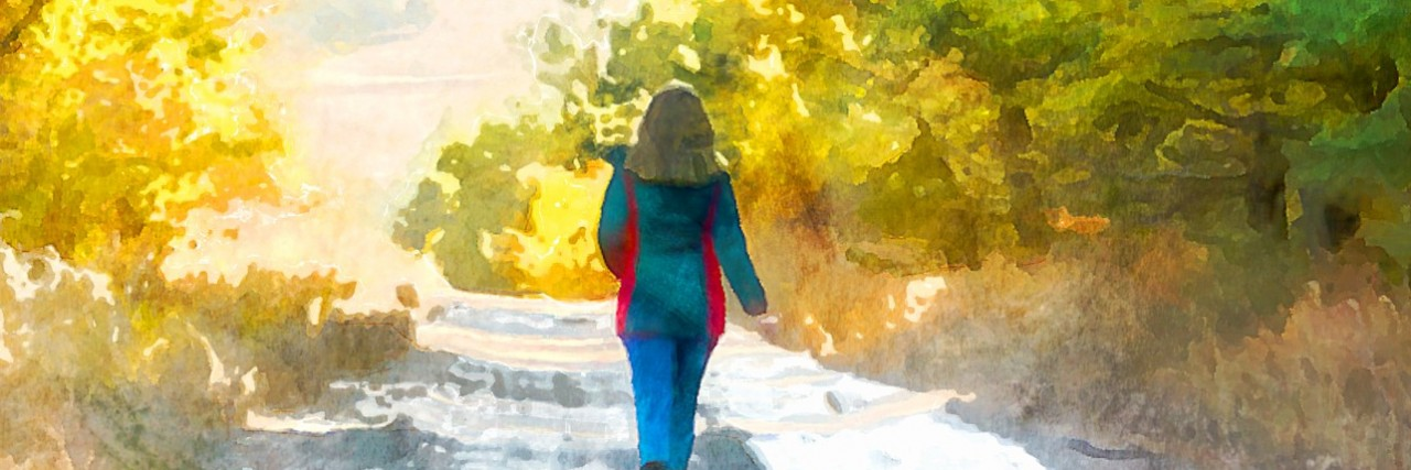 Watercolor illustration girl walking along the road through the forest.