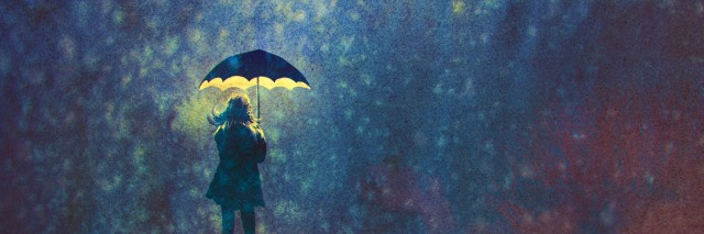 Illustration of woman under umbrella and light in the dark
