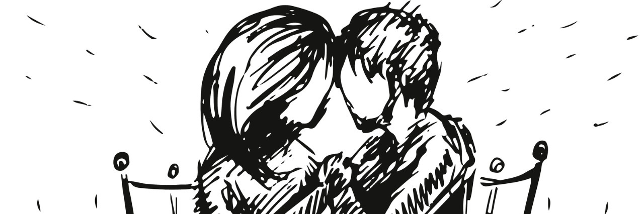 Vector graphic sketch of romantic happy young couple in love sitting on bench.