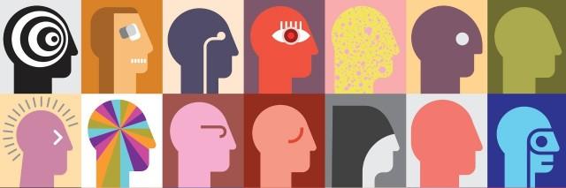 Modern art heads.