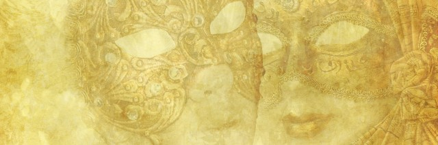 Antique Venetian Masks on golden grunge and floral background