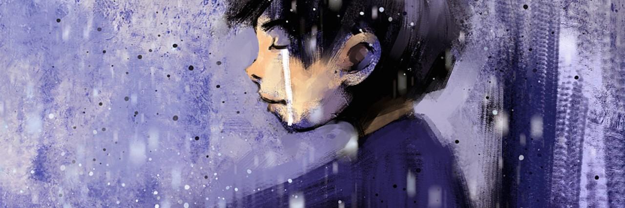 Illustration of boy sitting in the rain
