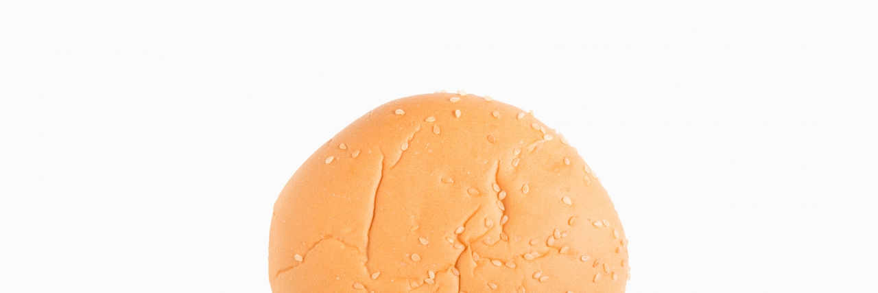 Hamburger bun isolated on white background.